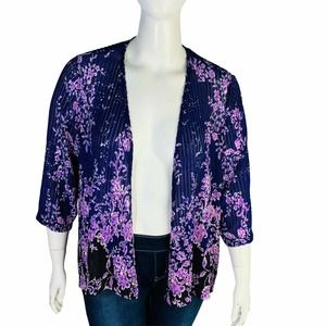 Catherines Open Front Meshed Cardigan Topper Sz 1X
